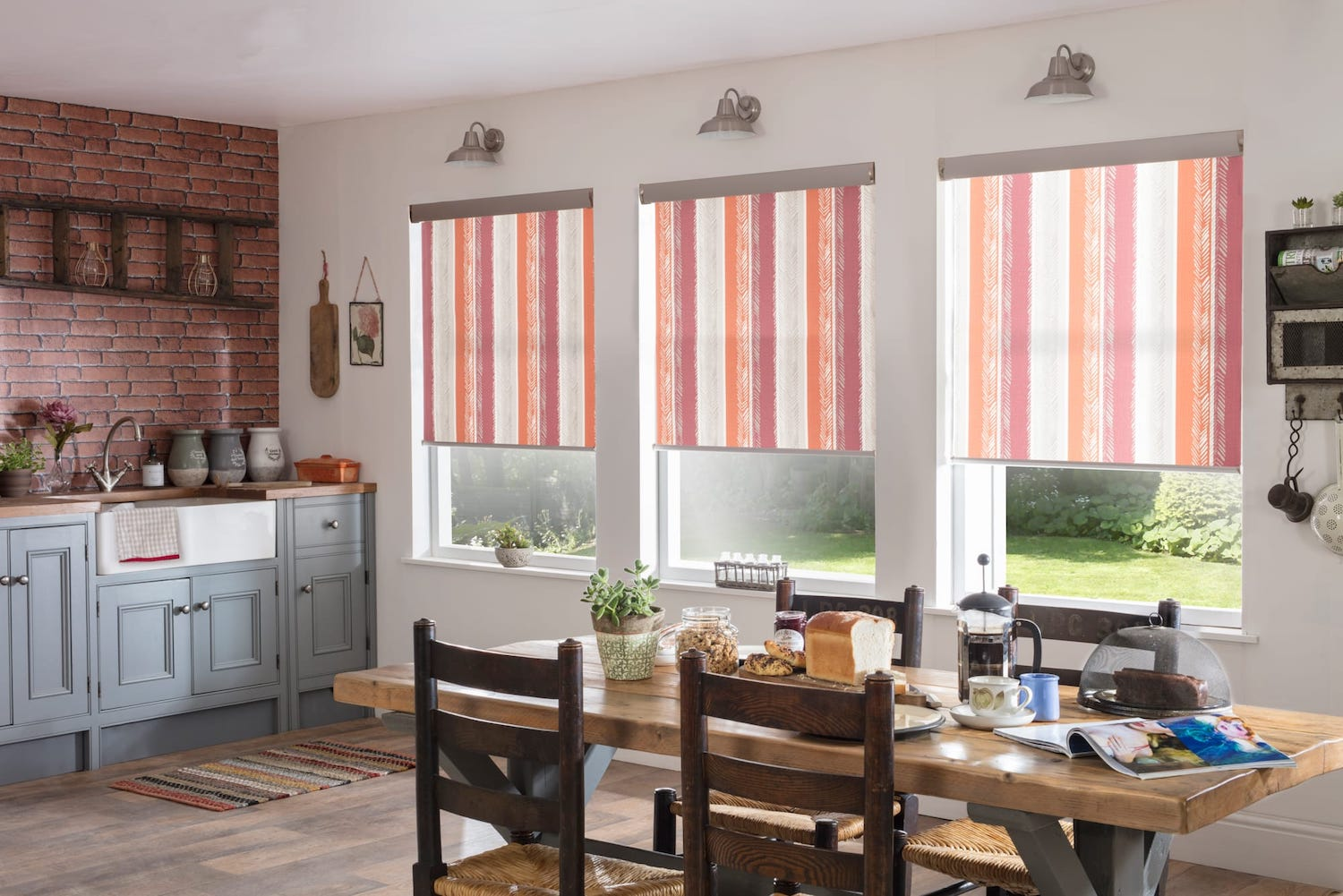 Indiana orange rustic kitchen roller blind
