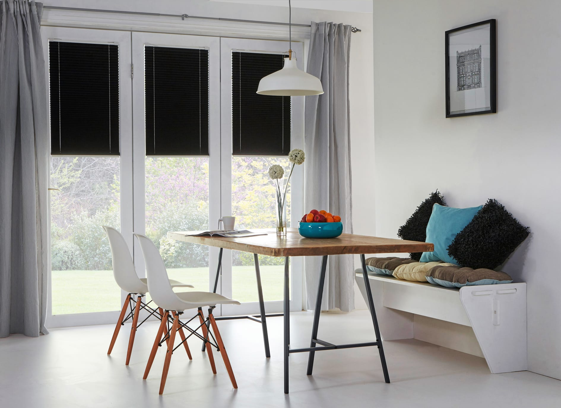 Black pleated blind with reflective coating
